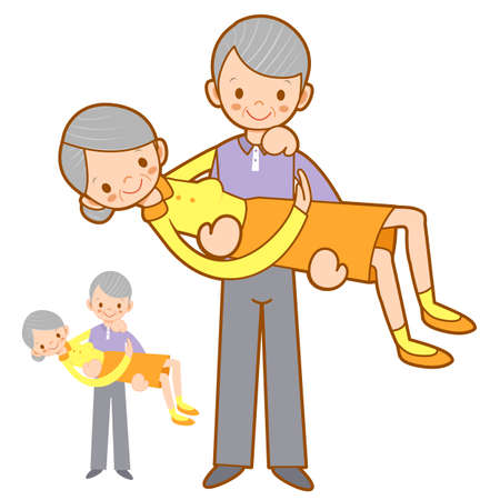 granny and grandad: Grandfather hugging his wife with both hands. Home and Family Character Design Series.