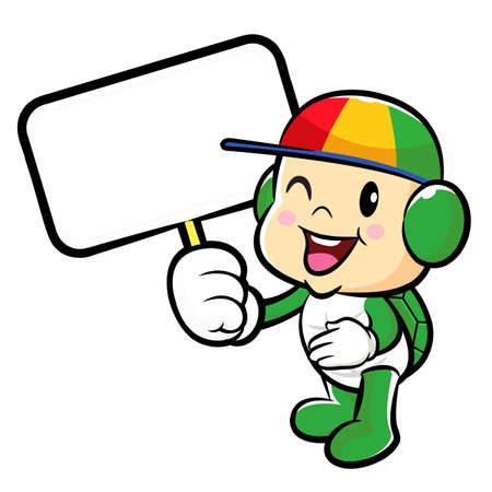 migrate: The Turtle mascot holding a board. Traffic and Road Character Design Series.