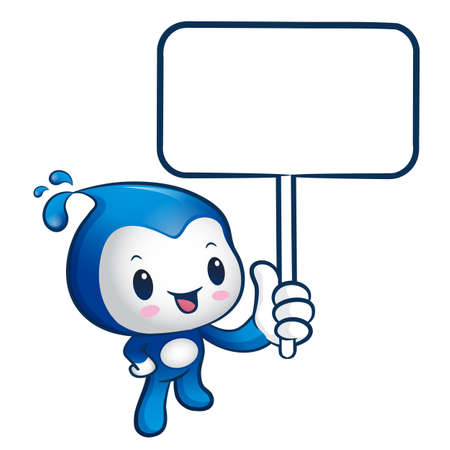 sea nymph: The Water mascot holding a board. Nature Character Design Series. Illustration