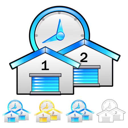 package deliverer: Delivery Item Distribution storage Illustration. Product and Distribution System Design Series.