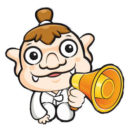 hobgoblin: Korea goblin Mascot the hand is holding a loudspeaker. Korea Traditional Cultural character design series.