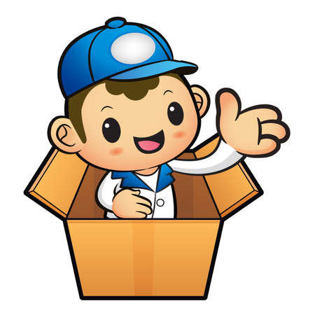 package deliverer: Blue Delivery Man Mascot in box the hand guide. Product and Distribution System Character Design Series.