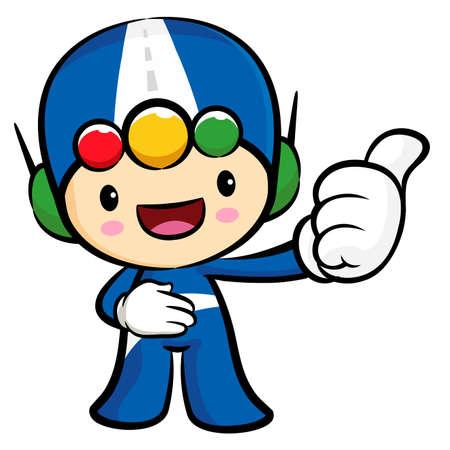 character design: Traffic lights Mascot the hand best gesture. Traffic and Road Character Design Series.