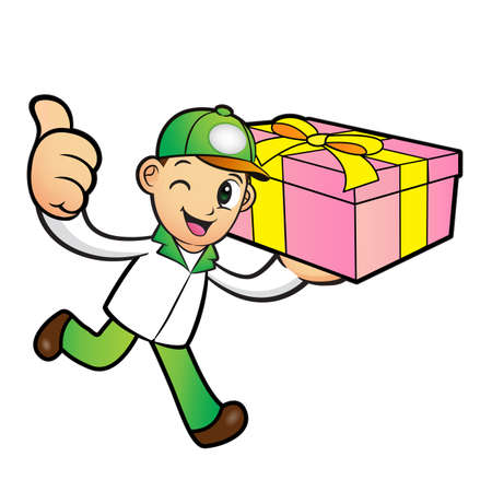 package deliverer: Green Delivery Man Mascot the right hand best gesture and left hand is holding a Box. Product and Distribution System Character Design Series. Illustration