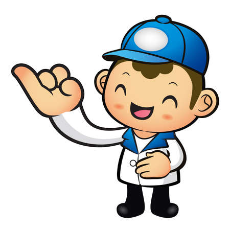 package deliverer: The Blue Delivery Man mascot takes the promise of a with the Left hand. Product and Distribution System Character Design Series.