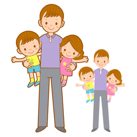 homemaker: Father husband holding the children. Home and Family Character Design Series.