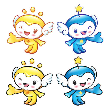 star mascot: Sun and Star mascot Suggests the direction. Nature Character Design Series.