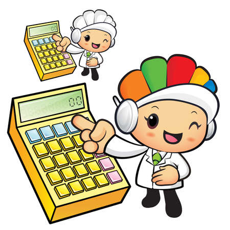 dietitian: Clinical Dietitian mascot Points to the electronic calculator. Work and Job Character Design Series.