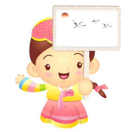 korea girl: The Girl mascot holding a big board. Korea Traditional Cultural character design series.