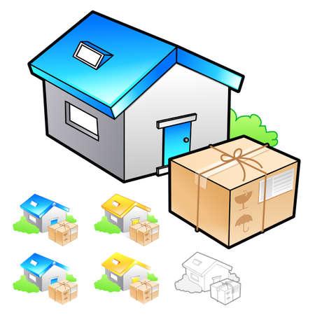package deliverer: Goods addressee transfer Illustration. Product and Distribution System Design Series.