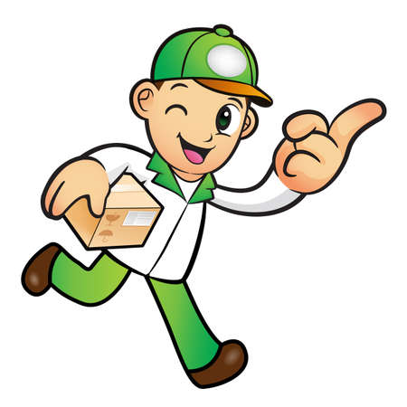 package deliverer: Green Delivery Man mascot the right hand guides and the left hand is holding a box. Product and Distribution System Character Design Series.