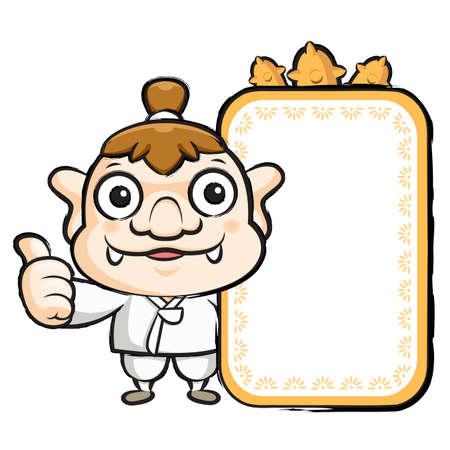 hobgoblin: The Korea goblin mascot holding a big board. Korea Traditional Cultural character design series.