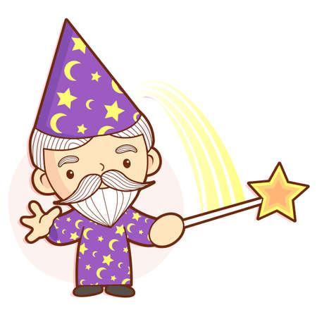 conjuror: Senior Wizard mascot practice the black art. Work and Job Character Design Series.