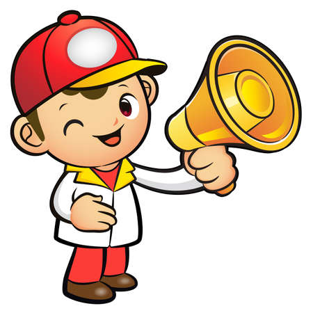 package deliverer: Red Delivery Man Mascot the hand is holding a loudspeaker. Product and Distribution System Character Design Series.