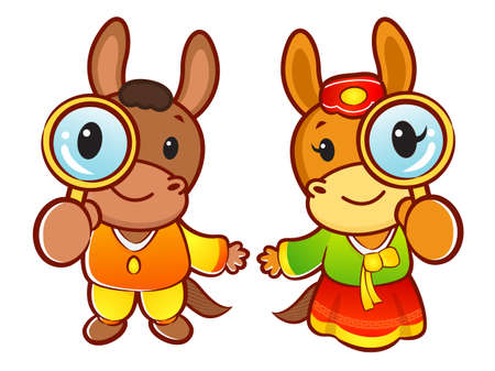 quartet: Horse  mascot couple examine a with a magnifying glass. New Year Character Design Series. Illustration