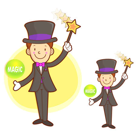 conjuring: Flexibility as possible a Magician mascot. Work and Job Character Design Series.