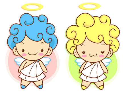 protestantism: Cherub Mascot flying to the sky. Angel Character Design Series.