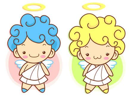 character design: Cherub Mascot flying to the sky. Angel Character Design Series.