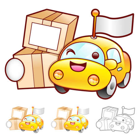 package deliverer: Car mascot moving a box. Product and Distribution System Character Design Series.