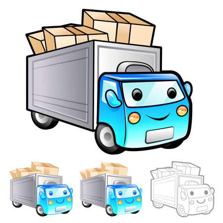 package deliverer: Shipment truck Illustration. Product and Distribution System Design Series.