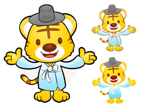 polite: Tiger Mascot is a polite greeting. Korea Traditional Cultural character design series. Illustration