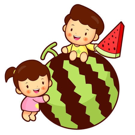watermelon woman: Large watermelon and Brother and Sister Mascot. Home and Family Character Design Series. Illustration