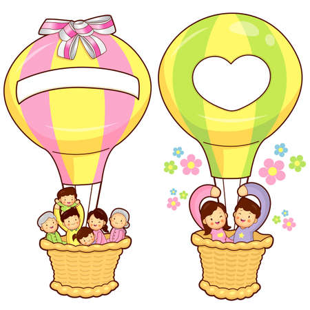 domesticity: Happy Leaving the family balloon trip. Home and Family Character Design Series.