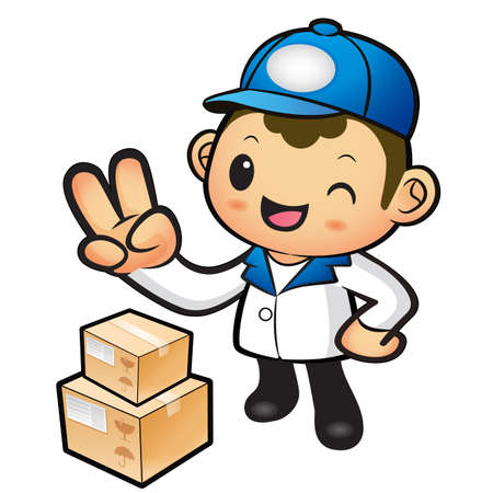 package deliverer: Blue Delivery Man taking the victory of Gesture. Product and Distribution System Character Design Series. Illustration