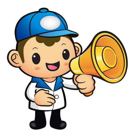 redcap: Blue Delivery Man Mascot the hand is holding a loudspeaker. Product and Distribution System Character Design Series. Illustration