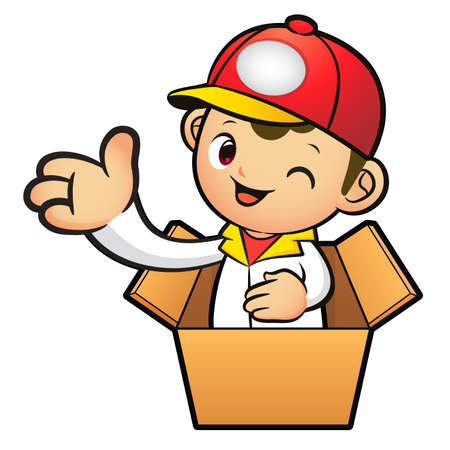 package deliverer: Red Delivery Man Mascot in box the hand guide. Product and Distribution System Character Design Series.
