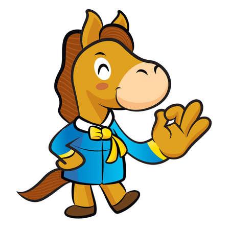 quartet: Horse Mascot the OK gesture. New Year Character Design Series. Illustration