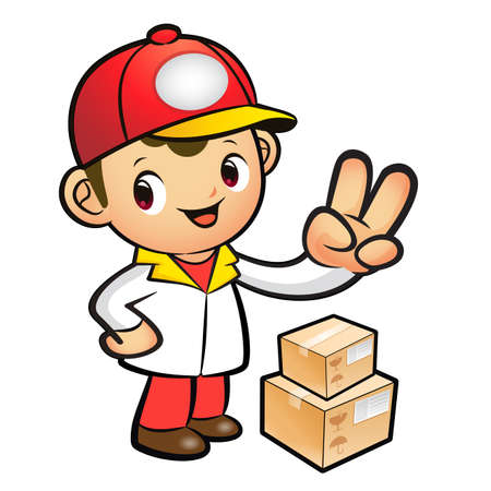 package deliverer: Red Delivery Man taking the victory of Gesture. Product and Distribution System Character Design Series.