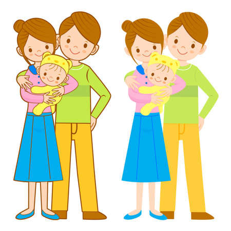 cuddle: The mother and her husband holding the baby. Home and Family Character Design Series.