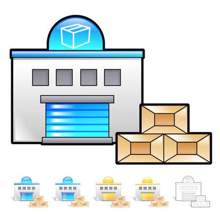 package deliverer: Delivery Item shuttle get off Illustration. Product and Distribution System Design Series.