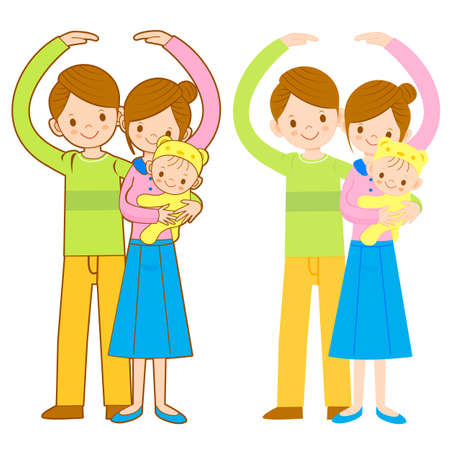 homemaker: Parents and Children Mascot love gesture. Home and Family Character Design Series. Illustration
