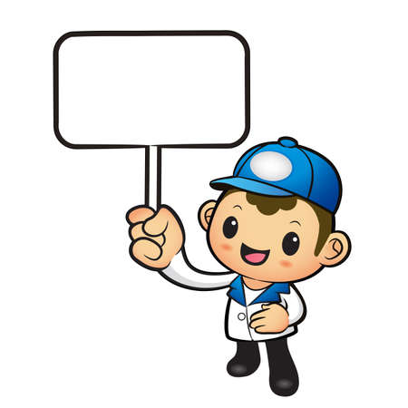 distribution board: The Blue Delivery Man mascot holding a board. Product and Distribution System Character Design Series.