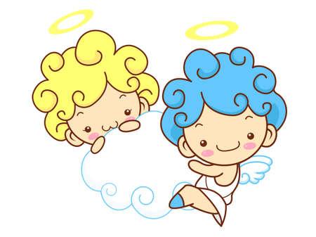 angeles bebe: �ngeles del beb� de la mascota son pendencia. �ngel Car�cter Serie Dise�o. Vectores
