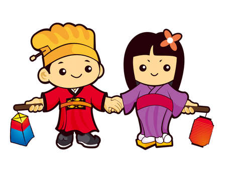 hanbok: The Boy and Girl Mascot is holding a lantern Building. Korea Traditional Cultural character design series.