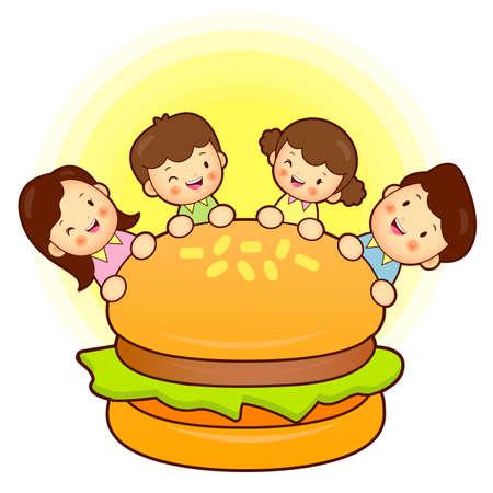 homemaker: Large hamburger and Family Mascot. Home and Family Character Design Series.