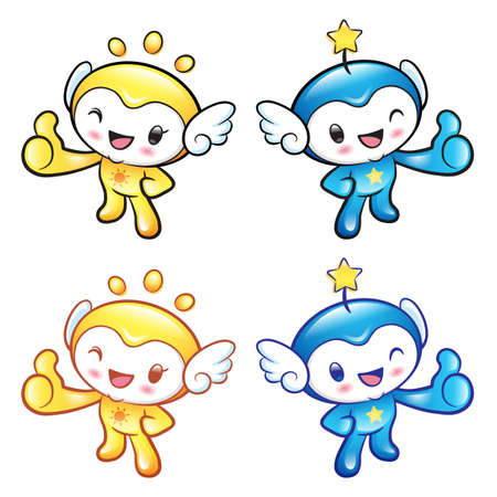 star mascot: Sun and Star Mascot the hand best gesture. Nature Character Design Series. Illustration
