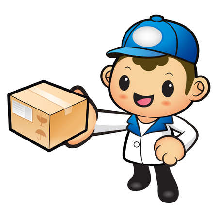 redcap: Blue Delivery Man mascot deliver box. Product and Distribution System Character Design Series.