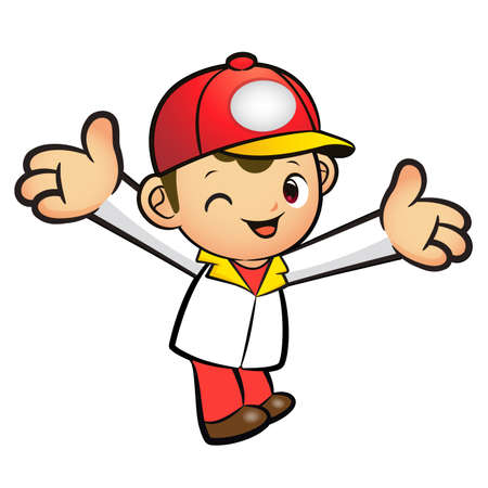 welcomed: The Red Delivery Man mascot has been welcomed with both hands. Product and Distribution System Character Design Series.