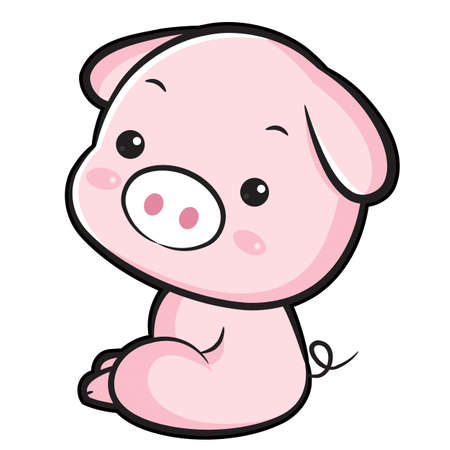 porker: The Left sit Pig Mascot. The East Twelve zodiac Character Design Series. Illustration
