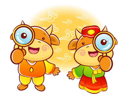 hanbok: Bull and Cow mascot examine a with a magnifying glass. Korea Traditional Cultural character design series.