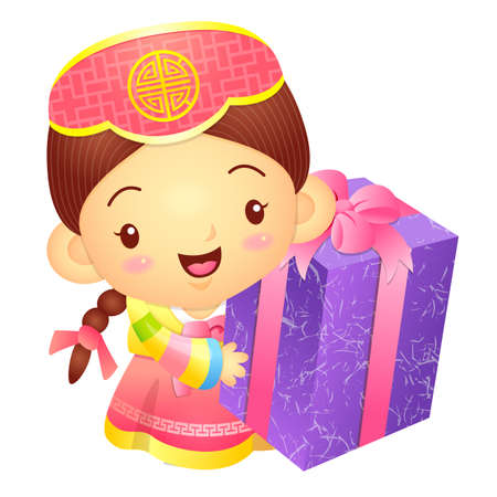 korea girl: Girl Mascot the hand is holding a big box. Korea Traditional Cultural character design series. Illustration