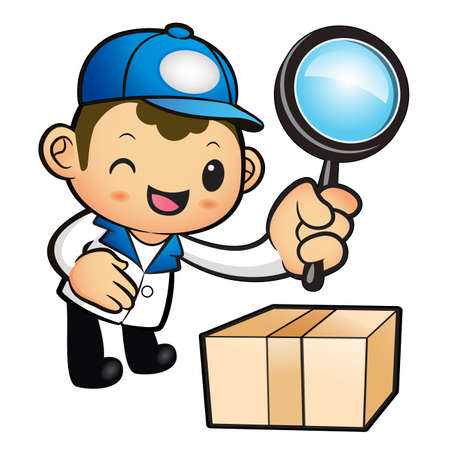 package deliverer: Blue Delivery Man mascot examine a with a magnifying glass. Product and Distribution System Character Design Series.
