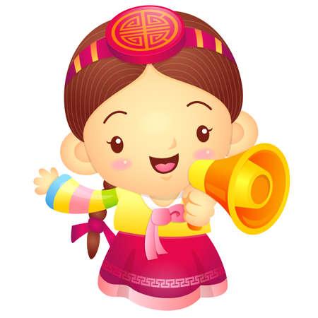 korea girl: Girl Mascot the hand is holding a loudspeaker. Korea Traditional Cultural character design series.