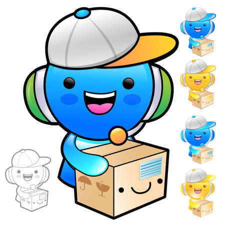 redcap: Delivery service man Mascot the hand is holding a big box. Product and Distribution System Character Design Series. Illustration
