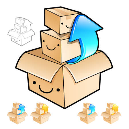 removing: Removing the small boxes in a big box Illustration. Product and Distribution System Design Series. Illustration