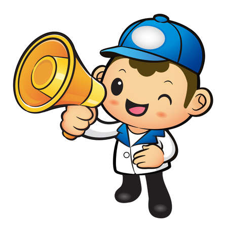 package deliverer: Blue Delivery Man Mascot the hand is holding a loudspeaker. Product and Distribution System Character Design Series. Illustration